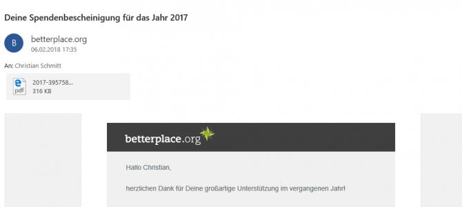 Spendenbescheinigung 2017